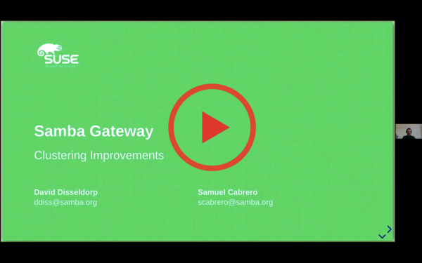 "Screenshot from the talk ""Ceph Samba Gateway and transparent failover improvements"""